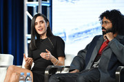Jennifer Connelly and Daveed Diggs of 'Snowpiercer' speak during the TNT segment of the 2020 Winter Television Critics Association Press Tour at The Langham Huntington, Pasadena on January 15, 2020 in Pasadena, California.