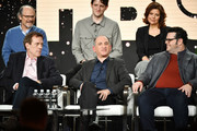 "(L-R, top row) Ethan Phillips, Zachary Woods, Rebecca Front (bottom row) Hugh Laurie, executive producer Armando Iannucci and Josh Gad of ""Avenue 5"" speak during the HBO segment of the 2020 Winter TCA Press Tour at The Langham Huntington, Pasadena on January 15, 2020 in Pasadena, California."