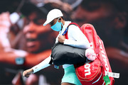 Venus Williams of The United States of America walks onto court wearing a face mask ahead of her Women's Singles first round match against Kirsten Flipkens of Belgium during day one of the 2021 Australian Open at Melbourne Park on February 08, 2021 in Melbourne, Australia.