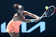Heather Watson of Great Britain plays a backhand in her Women's Singles first round match against Kristyna Pliskova of Czech Republic during day two of the 2021 Australian Open at Melbourne Park on February 09, 2021 in Melbourne, Australia.