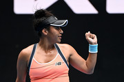 Heather Watson of Great Britain celebrates after winning the first set in her Women's Singles second round match against Anett Kontaveit of Estonia during day four of the 2021 Australian Open at Melbourne Park on February 11, 2021 in Melbourne, Australia.