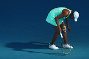 Venus Williams of The United States of America reacts after an injury in her Women's Singles second round match against Sara Errani of Italy during day three of the 2021 Australian Open at Melbourne Park on February 10, 2021 in Melbourne, Australia.