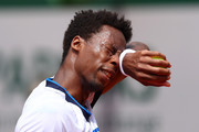 Gael Monfils of France reacts during his mens second round match against Mikael Ymer of Sweden during day five of the 2021 French Open at Roland Garros on June 03, 2021 in Paris, France.