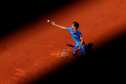 Albert Ramos Vinolas of Spain serves in their mens first round match against Gael Monfils of France during day three of the 2021 French Open at Roland Garros on June 01, 2021 in Paris, France.