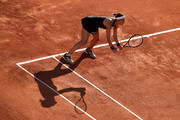 Andrea Petkovic of Germany in their ladies first round match against Karolina Muchova of the Czech Republic during day three of the 2021 French Open at Roland Garros on June 01, 2021 in Paris, France.