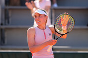 Ekaterina Alexandrova of Russia celebrates victory in their ladies first round match against  Venus Williams of The United States  during day three of the 2021 French Open at Roland Garros on June 01, 2021 in Paris, France.