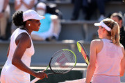 Venus Williams of The United States congratulates Ekaterina Alexandrova of Russia on victory in their ladies singles first round match during day three of the 2021 French Open at Roland Garros on June 01, 2021 in Paris, France.