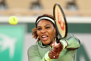Serena Williams of The United States plays a backhand in their ladies singles first round match against Irina-Camelia Begu of Romania on day two of the 2021 French Open at Roland Garros on May 31, 2021 in Paris, France.