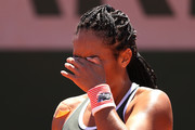 Heather Watson of Great Britain reacts  in their ladies singles first round match against Zarina Diyas of Kazakhstan on day two of the 2021 French Open at Roland Garros on May 31, 2021 in Paris, France.