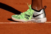 A detailed view of the shoes Serena Williams of the United States as she practices on day two of the 2021 French Open at Roland Garros on May 31, 2021 in Paris, France.