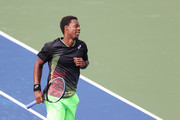 Gael Monfils of France reacts against Federico Coria of Argentina during his Men's Singles first round match on Day Two of the 2021 US Open at the Billie Jean King National Tennis Center on August 31, 2021 in the Flushing neighborhood of the Queens borough of New York City.