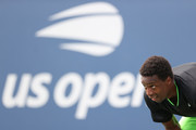 Gael Monfils of France gets ready to return the ball against Federico Coria of Argentina during his Men's Singles first round match on Day Two of the 2021 US Open at the Billie Jean King National Tennis Center on August 31, 2021 in the Flushing neighborhood of the Queens borough of New York City.