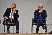Former US President Bill Clinton (R) along with former British Prime Minister Tony Blair attend an event to mark the 20th anniversary of the Good Friday Agreement at Queens university on April 10, 2018 in Belfast, Northern Ireland. The event, 'Building Peace: 20 years on from the Belfast/Good Friday Agreement' has been organised by the Senator George J. Mitchell Institute for Global Peace, Security and Justice.
