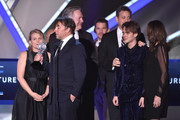(L-R) Producer Cathleen Sutherland, director/writer Richard Linklater, producer Jonathan Sehring,  actor Ethan Hawke, producer John Sloss, actor Ellar Coltrane and editor Sandra Adair accept the Best Picture award for 'Boyhood' onstage during the 20th annual Critics' Choice Movie Awards at the Hollywood Palladium on January 15, 2015 in Los Angeles, California.