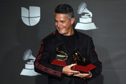 Musician Alejandro Sanz poses in the press room with the awards for Record of the Year, Best Pop Song and Best Long Form Music Video during the 20th Annual Latin Grammy Awards at MGM Grand Hotel & Casino on November 14, 2019 in Las Vegas, Nevada.