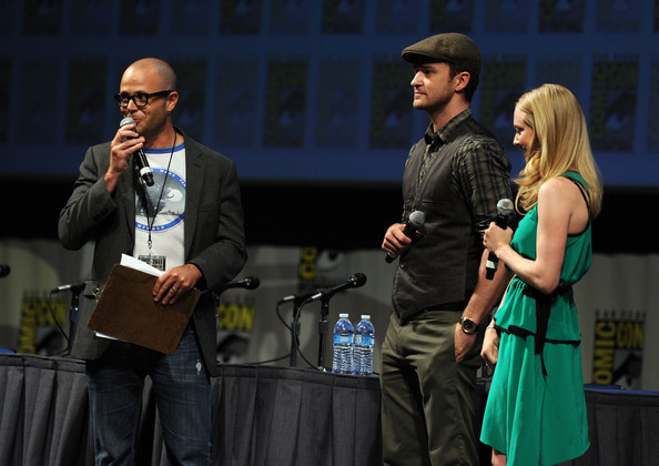(L-R) Moderator Damon Lindelof and actors Justin Timberlake (C) and Amanda Seyfried (R) speak at 20th Century Fox Panel at the San Diego Convention Center on July 21, 2011 in San Diego, California.