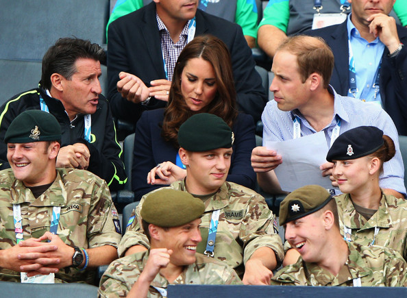 Lord Sebastian Coe, Catherine, Duchess of Cambridge and Prince William, Duke of Cambridge talk at Hampden Park during day six of the Glasgow 2014 Commonwealth Games on July 29, 2014 in Glasgow, United Kingdom.
