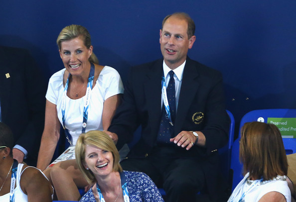 Prince Edward, Earl of Wessex and Sophie, Countess of Wessex attend the evening session at Tollcross International Swimming Centre during day two of the Glasgow 2014 Commonwealth Games on July 25, 2014 in Glasgow, Scotland.