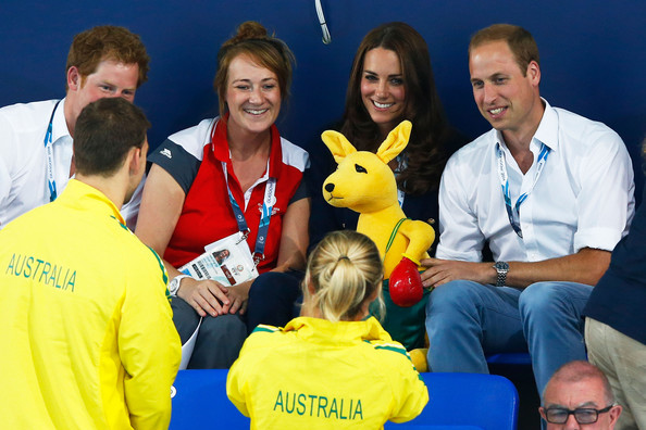 Prince Harry, Catherine, Duchess of Cambridge and Prince William, Duke of Cambridge pose with the Australian mascot as they attend the evening session at Tollcross International Swimming Centre during day five of the Glasgow 2014 Commonwealth Games on July 28, 2014 in Glasgow, Scotland.