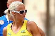 Carolina Kluft of Sweden watches the Mens 50km Walk during day four of the 20th European Athletics Championships at the Olympic Stadium on July 30, 2010 in Barcelona, Spain.