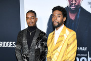 """Stephan James and Chadwick Boseman attend the """"21 Bridges"""" New York Screening at AMC Lincoln Square Theater on November 19, 2019 in New York City."""