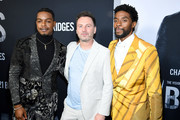 """Stephan James, Brian Kirk and Chadwick Boseman attend the """"21 Bridges"""" New York Screening at AMC Lincoln Square Theater on November 19, 2019 in New York City."""