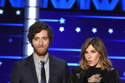 Actors Thomas Middleditch and Carrie Brownstein speak onstage during the 21st Annual Critics' Choice Awards at Barker Hangar on January 17, 2016 in Santa Monica, California.