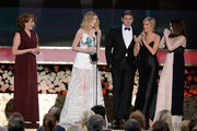 (L-R) Actors Phyllis Logan, Laura Carmichael, Allen Leech, Joanne Froggatt, and Sophie McShera accept the award for Outstanding Performance by an Ensemble in a Drama Series onstage at the 21st Annual Screen Actors Guild Awards at The Shrine Auditorium on January 25, 2015 in Los Angeles, California.