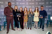 Actors Winston Duke, Hari Nef, Kayli Carter, Millicent Simmonds, Elsie Fisher, Thomasin McKenzie, and Raul Castillo attend the Entertainment Weekly Breakout Awards Panel at the 21st SCAD Savannah Film Festival on October 27, 2018 in Savannah, Georgia.