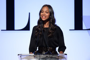 Actress Zoe Saldana speaks onstage during the 22nd Annual ELLE Women in Hollywood Awards at Four Seasons Hotel Los Angeles at Beverly Hills on October 19, 2015 in Los Angeles, California.