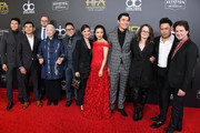 (L-R) Harry Shum Jr., Ronny Chieng, Bradford Simpson, Lisa Lu, Nico Santos, Michelle Yeoh, Constance Wu, Henry Golding, Nina Jacobson, Jon M. Chu, and John Penotti attend the 22nd Annual Hollywood Film Awards at The Beverly Hilton Hotel on November 4, 2018 in Beverly Hills, California.
