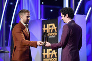 Ryan Gosling (L) presents the Hollywood Director Award for 'First Man' to Damien Chazelle onstage during the 22nd Annual Hollywood Film Awards at The Beverly Hilton Hotel on November 4, 2018 in Beverly Hills, California.