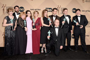 (L-R) Actors Phyllis Logan, Tom Cullen, Lesley Nicol, Sophie McShera, Joanne Froggatt, Raquel Cassidy, Kevin Doyle, Julian Ovenden, Allen Leech and Jeremy Swift, winners for Outstanding Performance By an Ensemble in a Drama Series 'Downton Abbey', pose in the press room during The 22nd Annual Screen Actors Guild Awards at The Shrine Auditorium on January 30, 2016 in Los Angeles, California. 25650_015