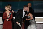 (L-R) Actors Joanne Froggatt, Jeremy Swift and Allen Leech accept Outstanding Performance by an Ensemble in a Drama Series for 'Downton Abbey' from actors Keegan-Michael Key and Julia Louis-Dreyfus onstage during the 22nd Annual Screen Actors Guild Awards at The Shrine Auditorium on January 30, 2016 in Los Angeles, California.