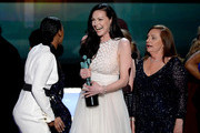(L-R) Actresses Vicky Jeudy, Laura Prepon and Dale Soules accept Outstanding Performance by an Ensemble in a Comedy Series for 'Orange Is the New Black' onstage during the 22nd Annual Screen Actors Guild Awards at The Shrine Auditorium on January 30, 2016 in Los Angeles, California.