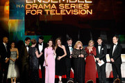 Actors Allen Leech, Tom Cullen, Sophie McShera, Raquel Cassidy, Julian Ovenden, Jeremy Swift, Lesley Nicol, Kevin Doyle, and Joanne Froggatt accept Outstanding Performance by an Ensemble in a Drama Series for 'Downton Abbey' from actors Keegan-Michael Key and Julia Louis-Dreyfus (both far L) onstage during the 22nd Annual Screen Actors Guild Awards at The Shrine Auditorium on January 30, 2016 in Los Angeles, California.