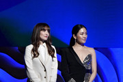 (L-R) Lorene Scafaria and Constance Wu appear onstage during the 22nd CDGA (Costume Designers Guild Awards) at The Beverly Hilton Hotel on January 28, 2020 in Beverly Hills, California.