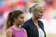 Former Swedish athlete Carolina Kluft (R) looks on at a medal ceremony during day four of the 22nd European Athletics Championships at Stadium Letzigrund on August 15, 2014 in Zurich, Switzerland.