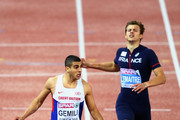 Adam Gemili of Great Britain and Northern Ireland celebrates winning gold ahead of silver medalist Christophe Lemaitre of France in the Men's 200 metres final during day four of the 22nd European Athletics Championships at Stadium Letzigrund on August 15, 2014 in Zurich, Switzerland.