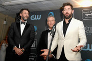 (L-R) Andrew Form, Brad Fuller, and John Krasinski, winners of Best Sci-Fi/Horror Movie for 'A Quiet Place', speak in the press room during the 24th annual Critics' Choice Awards at Barker Hangar on January 13, 2019 in Santa Monica, California.