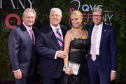 """President & CEO of FFANY Ron Fromm, Designer Dennis Basso, Event Host Jill Martin and President & CEO of QVC Mike George attends 24th Annual QVC presents """"FFANY Shoes On Sale"""" Gala at The Ziegfeld Ballroom on October 10, 2017 in New York City."""