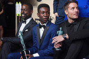 (L-R) Actors Sterling K. Brown, Niles Fitch and Justin Hartley, winners of Outstanding Performance by an Ensemble in a Drama Series for 'This Is Us,' pose in the press room during the 24th Annual Screen Actors Guild Awards at The Shrine Auditorium on January 21, 2018 in Los Angeles, California.