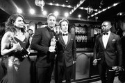 (L-R) Actors Mandy Moore, Logan Shroyer, Justin Hartley and Sterling K. Brown in the trophy room at the 24th Annual Screen Actors Guild Awards at The Shrine Auditorium on January 21, 2018 in Los Angeles, California. 27522_012