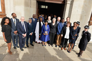 Beverley Knight (R), Sir Lenny Henry (2nd L), Labour Party Leader Jeremy Corbyn (3rd L), Mayor of London Sadiq Khan (4th L), Neville Lawrence (5th L), Doreen Lawrence, Baroness Lawrence of Clarendon (C), British Prime Minister Theresa May (8th R), Stuart Lawrence (6th R) Metropolitan Police Commissioner Cressida Dick (R) depart after attending the 25th Anniversary Memorial Service to celebrate the life and legacy of Stephen Lawrence at St Martin-in-the-Fields on April 23, 2018 in London, England.