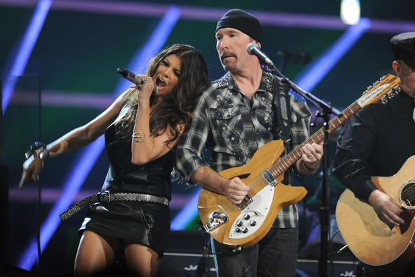 Fergie of Black Eyed Peas and The Edge of U2 perform onstage at the 25th Anniversary Rock & Roll Hall of Fame Concert at Madison Square Garden on October 30, 2009 in New York City.