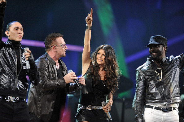 Taboo of Black Eyed Peas, Bono of U2, Fergie and will.i.am of Black Eyed Peas perform onstage at the 25th Anniversary Rock & Roll Hall of Fame Concert at Madison Square Garden on October 30, 2009 in New York City.