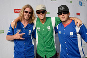 (L-R) Bucky Covington, Bobby Bones and Aaron Watson step up to strike out cancer at City of Hope's 25th Annual Celebrity Softball Game at First Tennessee Park on June 13, 2015 in Nashville, Tennessee.