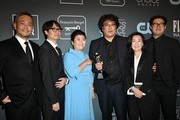 Cast and crew of 'Parasite' attend the 25th Annual Critics' Choice Awards at Barker Hangar on January 12, 2020 in Santa Monica, California.