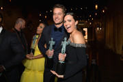 (L-R) Susan Kelechi Watson, Justin Hartley, and Mandy Moore pose with awards at the 25th Annual Screen ActorsGuild Awards at The Shrine Auditorium on January 27, 2019 in Los Angeles, California. 480518