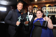 (L-R) Justin Hartley, Sterling K. Brown and Chrissy Metz attend the 25th Annual Screen Actors Guild Awards at The Shrine Auditorium on January 27, 2019 in Los Angeles, California. 480720